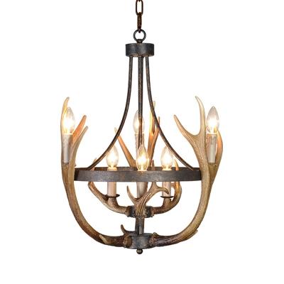 Antler Chandelier Lighting Metal and Resin 6/9 Lights Rustic Loft Indoor Ceiling Pendant