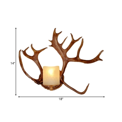 Antlers Design Wall Sconce with Cylindrical Opal Glass Shade Countryside 1 Light Wall Mount Lamp in Brown