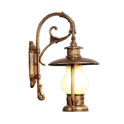 Brass/Black Finish Lantern Wall Sconce 1 Light Antique Metal Sconce Lighting Fixture for Warehouse