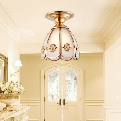 Brass Conical Flush Mount Lighting 1 Light Vintage Flush Ceiling Lamp with White Glass Shade