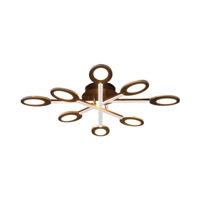 Crossed Lines Semi Flush Mount Lighting Modern Metal 3/4/5/7 Lights Ceiling Light Fixture in Brown