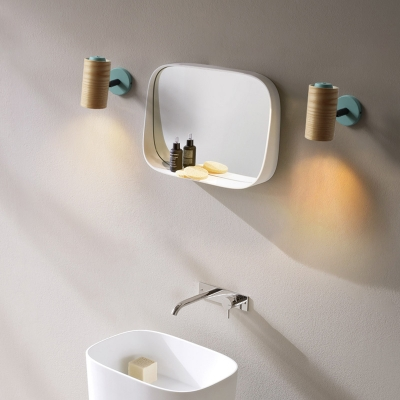 Cylindrical Wood Wall Mount Light Fixture Minimalism 1 Light Yellow/Blue/Green Sconce Light Fixture for Bathroom