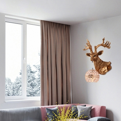 Elk Flush Mount Wall Sconce with Clear Crystal Dome Lampshade Lodge 1 Light Wall Lamp in Antique Brass