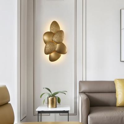Gold Wall Light Fixture with Metal Shade Mid Century 3/6 Lights Wall Mounted Light for Living Room