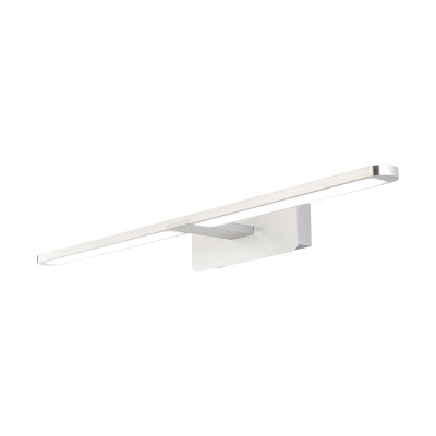 Integrated Led Linear Wall Lamp Modern Simple Metal Bathroom Lighting in Nickel/Silver