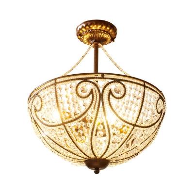 Loft Style Bowl Semi Flush Lighting Metal and Clear Crystal 4 Lights Semi Flush Chandelier in Bronze