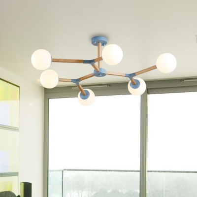 Modo Chandelier Lighting Opal Glass Shade 3/6/9 Lights Macaron Hanging Light in Blue/Grey/Pink
