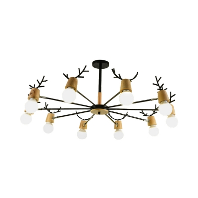 Nordic Exposed Bulb Pendant Light with Black/White Antler Metal and Wood 3/6/8/10 Heads Chandelier Lamp