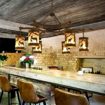 Rustic Cylinder Chandelier Lamp with Deer Pattern 3/6/9 Lights Metal Rust Pendant Lighting for Restaurant