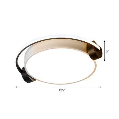 Unique White Headset Flush Mount Light Modern 16.5
