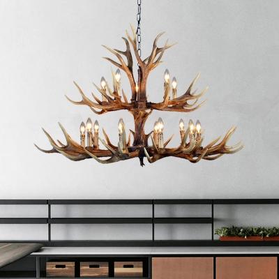 12/15 Lights Antlers Hanging Lamp Lodge Resin Restaurant Chandelier Light Fixture in Brown