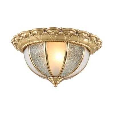 2 Bulbs Bowl Flush Lighting Vintage Dimple Glass Ceiling Flush Mount in Gold for Bedroom