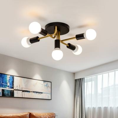 5 Lights Armed Semi Flush Lamp Iron Mid Century Modern Semi Flush Ceiling Light in Black/Gold