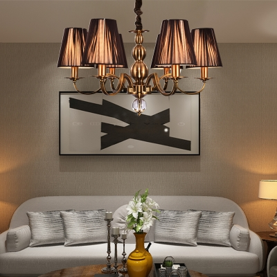 6/8 Lights Cone Chandelier Brown Gathered Fabric Shade Vintage Style Suspension Light for Living Room