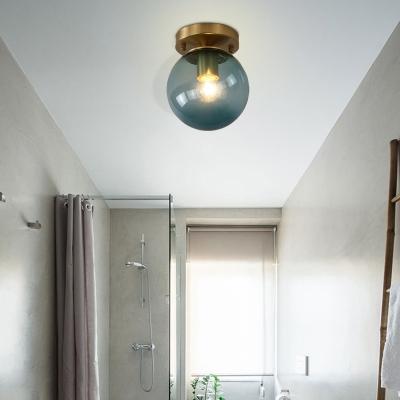 Blue/Tan Spherical Flushmount Light Minimalism Glass 1 Head Balcony Ceiling Light Flush Mount