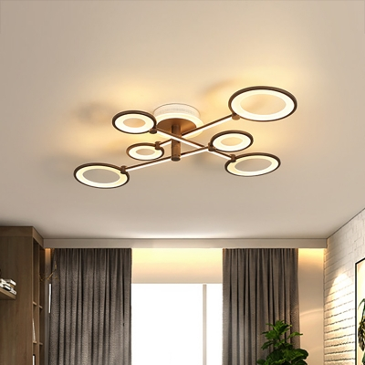 Brown Crossed Flush Light Fixture Contemporary 5/7/9 Lights Integrated Led Close to Ceiling Light in Warm/White/Neutral