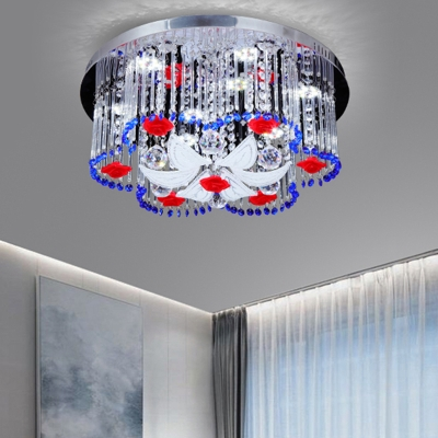 Crystal Flower Ceiling Light Modern LED Flush Ceiling Light in Blue and Red for Bedroom