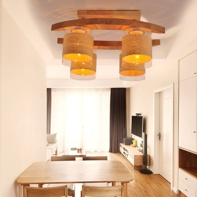 Cylindrical Glass Shade Semi Flush Light Modern 4 Bulbs Dining Table Semi-Flush Ceiling Light in Wood