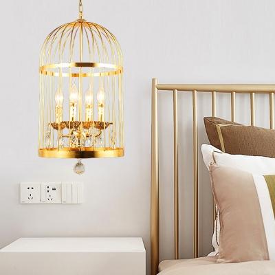 Gold Birdcage Hanging Ceiling Light Metallic 4 Lights Traditional Suspension Light for Foyer