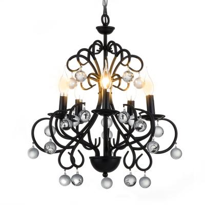Matte Black Chandelier Lamp with Clear K9 Crystal Metal 5 Lights Traditional Suspension Light