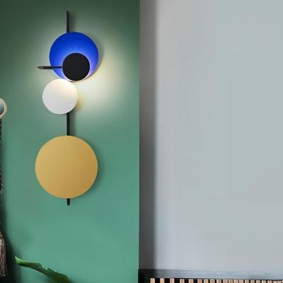 Metal Multi Disk Wall Lamp Light Nordic Decorative Led Wall Mount Lamp in Black Finish