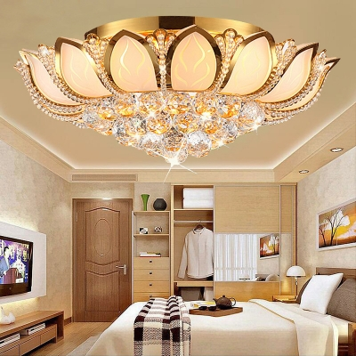 Modern Petal Flush Lighting with Clear Crystal Ball Decorative Flushmount Light in Gold, 18