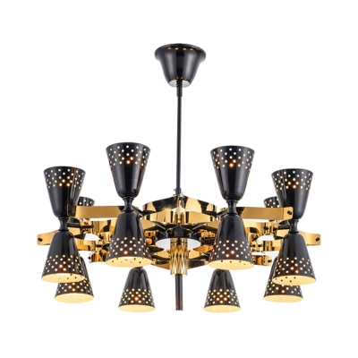 Multi Light Hourglass Chandelier Light Mid Century Modern Metal Suspension Lamp in Polished Black with Etched Design