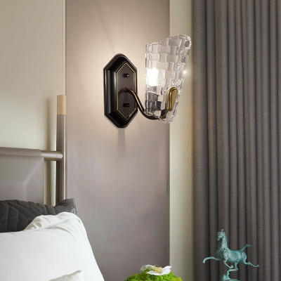 Restaurant Hotel Wall Light Clear Crystal and Metal 1 Light Modern Sconce Light in Black HL562932 фото