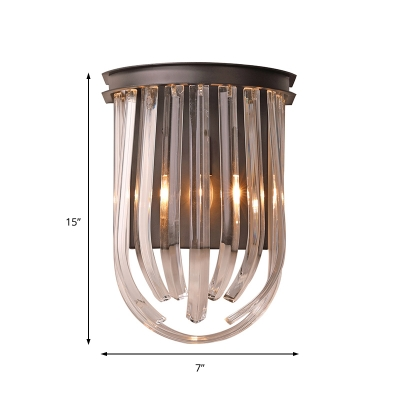 Semi Oval Crystal Wall Mount Light Classic 1 Light Wall Light in Black Finish for Foyer