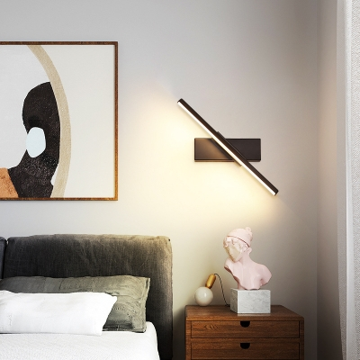 1 Light Linear Led Wall Light Rotatable Metal Indoor Lighting for Bedroom with Silica Gel