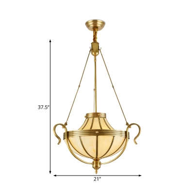 3 Bulbs Urn Pendant Lamp Traditional Frosted Glass Chandelier Light in Brass