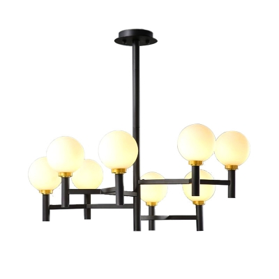 6/8 Lights Orb Pendant Lighting with Frosted Glass Shade Modern Hanging Ceiling Light in Black/Gold/White