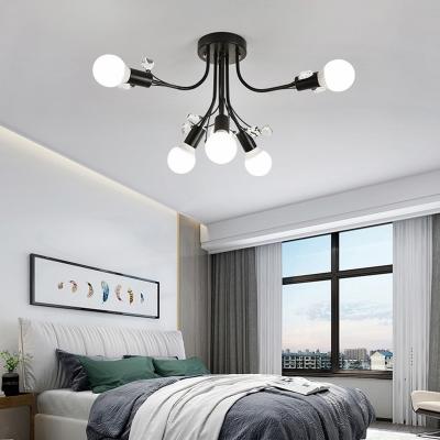 6/9 Lights Exposed Bulb Semi Flush Light Modern Metallic Black/Gold/White Semi Flushmount Light with Clear Crystal Bead