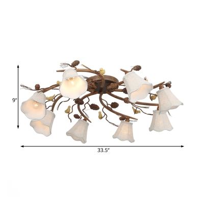 8 Heads Scalloped Semi Flush Chandelier Traditional White Fabric Shade Semi Flush Lighting in Rust