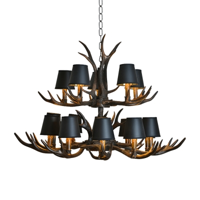 Black Fabric Cone Hanging Chandelier with Antlers Design Vintage 4/6/8/10/15 Lights Hanging Ceiling Light