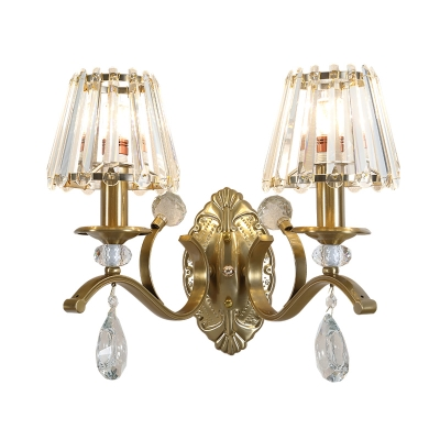 Contemporary Gold Wall Light with Teardrop Crystal 1/2 Lights Metal Sconce Lamp for Dining Room