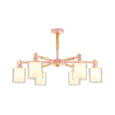 Green/Pink/Yellow Cylinder Chandelier Lighting with Inner Milk Glass Shade Macaron 3/5/6/8 Bulbs Ceiling Pendant Light