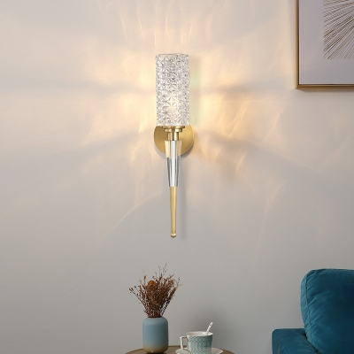 Hallway Dining Room Wall Light Clear Crystal Metal 1 Light Luxurious Gold Sconce Light