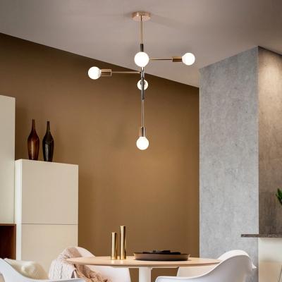 Linear Hanging Ceiling Light Metal 4 Lights Nordic Chandelier Lighting in Black/White