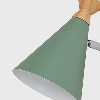 Metal Cone Shade Wall Light Nordic Style Rotatable 1 Light Bedside Reading Light in Blue/Green/Grey/White