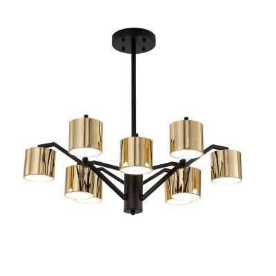 Mid Century Modern Gold Chandelier with Drum Metal Shade 9 Lights Indoor Pendant Light