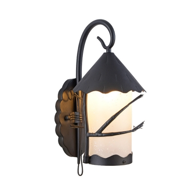 Mini Cylinder Wall Mounted Lamp Vintage Frosted Glass 1 Light Wall Sconce in Dark Gray-Black
