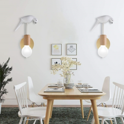 Open Bulb Wall Light Sconce Modernist 1 Light Sconce Light Fixture with Bird Accent in Grey/White/Green Finish