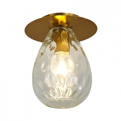 Pear Shaped Dimple Glass Flush Mount Lamp Nordic 1 Light Clear Flush Mount Light Fixture for Living Room