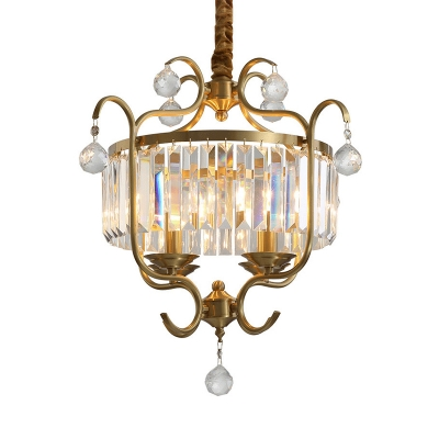Traditional Brass Pendant Lamp with Triangular Crystal Prisms 4 Bulbs Indoor Chandelier for Dining Table