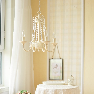 Traditional Candle Hanging Chandelier with Crystal Strand Metal 4/6 Lights Pendant Lighting in Brass/Grey/White