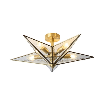 Water Glass Star Flush Lighting Vintage 5 Bulbs Clear Ceiling Mounted Light in Brass Finish
