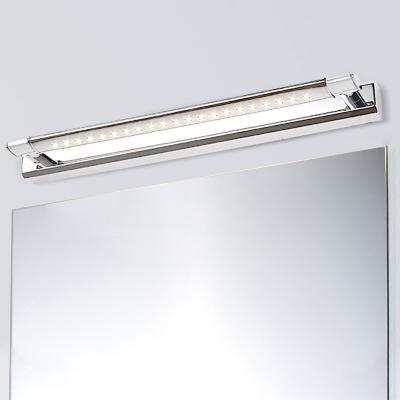 Waterproof Linear Wall Lighting Modernism Stainless Steel Led Bath Light in Silver