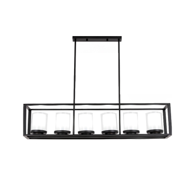 3/6 Lights Linear Chandelier Lamp Metal Frame Industrial Island Lighting in Black with White Glass Shade