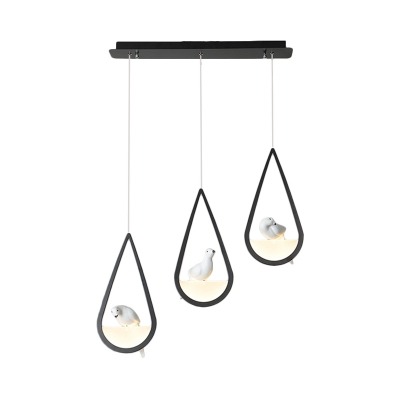 Black/White Teardrop Hanging Ceiling Light with Bird Nordic Metal 1/2/3 Lights Cluster Pendant Light in Warm/White
